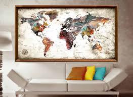 World Map Poster Large Large World Map Abstract Art Poster Print World Map Wall Art Push