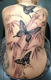 butterflies and bamboo black and gray back by jose