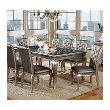 furniture of america amina dining set collection silver finish