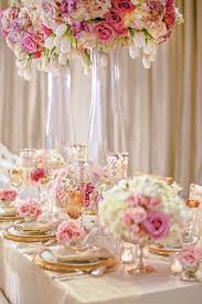 pink white gold wedding reception décor photos gold pink white tablescape inside