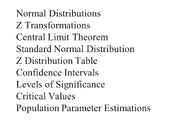 Normal Distribution Table Normal Distributions Z Transformations Central Limit Theorem