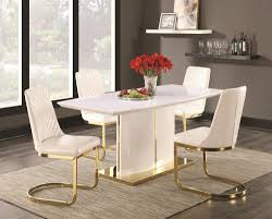 high gloss white u0026 metal w gold dining table by coaster