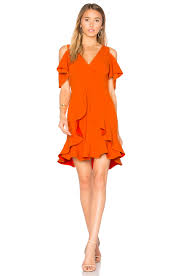 cold shoulder dress aijek nicola cold shoulder dress in orange revolve