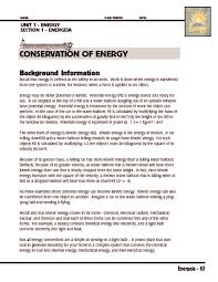 collection of solutions conservation of energy grade 5 worksheets