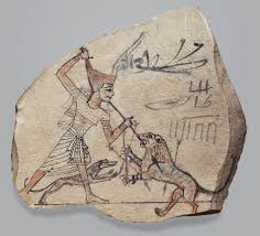 artist u0027s sketch of pharaoh spearing a lion work of art
