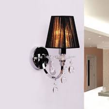 Chandelier With Black Shade And Crystal Drops Fashion Style Wall Sconces Crystal Lights Beautifulhalo Com