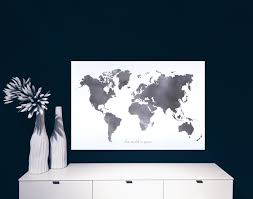 Huge World Map by World Map Canvas Poster Black And White By Maja Waleska