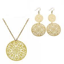 leaf pattern necklace antique gold plated round boho filigree leaf pattern copper necklace