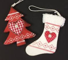 nordic wooden christmas tree ornaments white stocking u0026 red tree