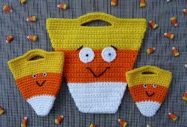 halloween bags candy corn halloween bag set crochet pattern instant