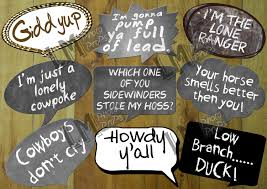 cowboy or western theme photo booth props includes 9 sayings