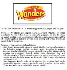 kindergarten pattern books writing world of wonders supplemental pages for tk pre k mcgraw hill