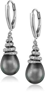 black dangle earrings sterling silver tahitian cultured black pearl and