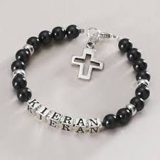 holy communion gifts for boys sterling silver black pearl boys name cross bracelet