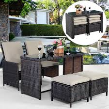 rattan dining room sets 5 pcs brown patio cushioned rattan dining table chair set