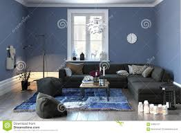 interior of a modern lounge in grey and blue stock illustration