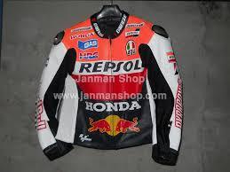 racing biker jacket honda repsol one hear motorbike leather jacket