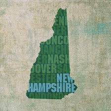New Hampshire State Map by Hampshire Word Art State Map On Canvas Mixed Media By Design Turnpike