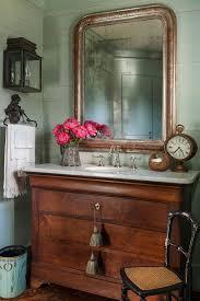 antique vanity dresser powder room farmhouse with sconces white