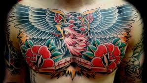 chest eagle and two roses with word family tattoos pm