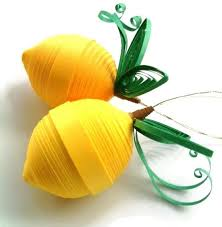 lemon yellow ornaments paper quilled summer 2013 trends