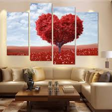 online buy wholesale tree mural painting from china tree mural modern 4 piece red giving tree wall art decor mural painting the living room oil paintings