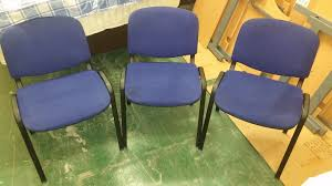 3x blue office chairs used furniture manchester
