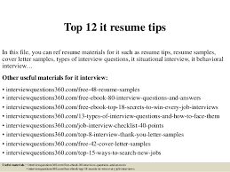 It Resume Cover Letter Examples by Top 12 It Resume Tips 1 638 Jpg Cb U003d1430651782
