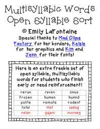 multisyllabic words open syllable sort phonics freebie by emily