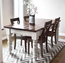 dining room with zig zag rug and farmhouse table farmhouse