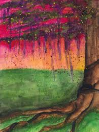 abstract art tree painting sunset watercolor