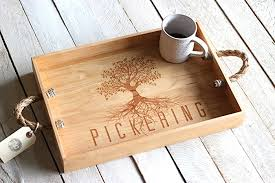 engraved serving trays custom personalized tree design wood serving tray