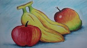 how to draw fruits with oil pastel youtube