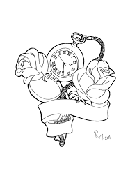 clock pocket watch and roses tattoos sketch in 2017 real photo