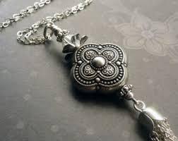 silver tassel long necklace images Silver tassel etsy jpg