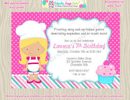 little chef cupcake decorating party invitation cupcake