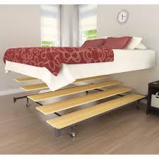 wooden base bed bedroom bedroom furniture platform metal floating frame