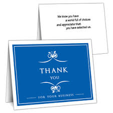 blue business thank you card on sale business thank you cards