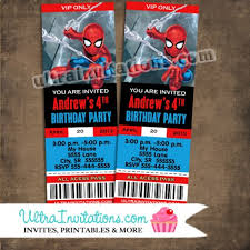spiderman birthday ticket pass photo invitations printable or