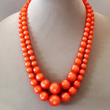 ball bead necklace images Orange color cellulose plastic ball bead vintage necklace jpg