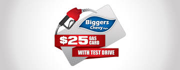 free gas card with test drive biggers chevrolet