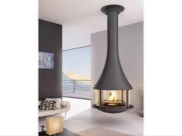 wood burning central hanging fireplace slimfocus by focus loversiq