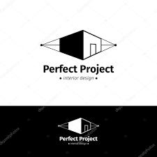 vector minimalistic house design logo black and white interior