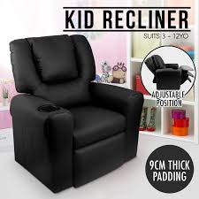kid recliner sofa children kids lounge chair leather fabric arms