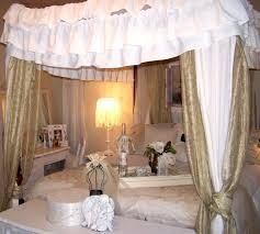 Canopy Curtains Bedroom Furniture King Size Master Bed With White Mixed Gold