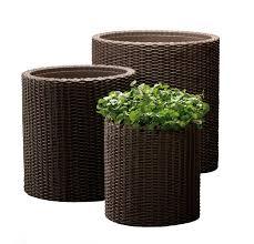 Planters And Pots Keter Round Plastic Rattan Resin Garden Flower Planters Decor Pots