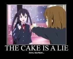 The Cake Is A Lie Meme - demotivational poster image 234744 zerochan anime image board
