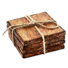 Bed Bath And Beyond Coasters Thirstystone Square Mango Wood Bark Coasters Set Of 4 Bed
