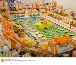 whataburger open on thanksgiving whataburger creates mini super bowl stadium entirely made of food