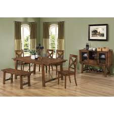 coaster lawson 7pc dining table set in rustic finish for 1 599 00